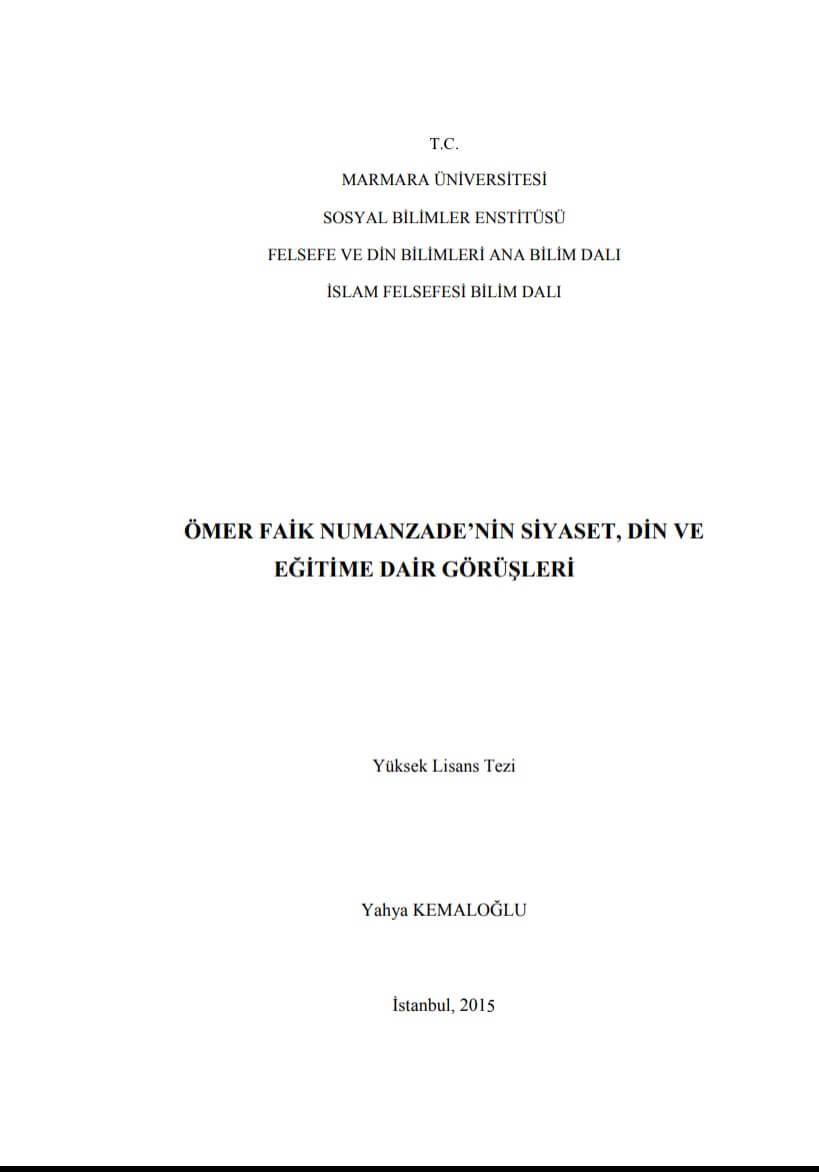Yahya Kemaloğlu Yüksek Lisans Tezi