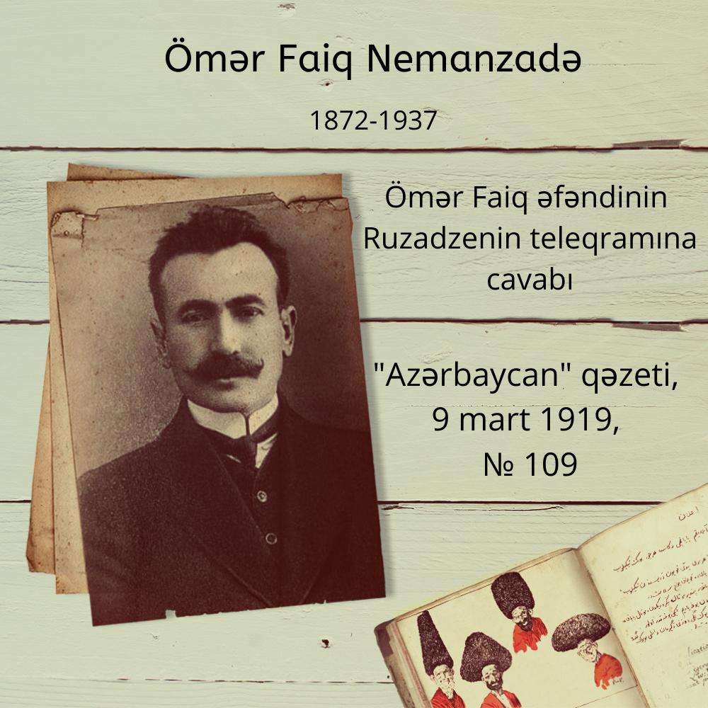 Ömər Faiq əfəndinin Ruzadzenin teleqramına cavabı